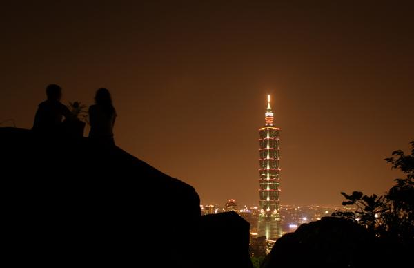 台北101を眺めるカップル